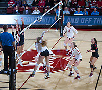 STANFORD, CA - December 1, 2018: Meghan McClure, Jenna Gray, Audriana Fitzmorris, Morgan Hentz at Maples Pavilion. The Stanford Cardinal defeated Loyola Marymount 25-20, 25-15, 25-17 in the second round of the NCAA tournament.