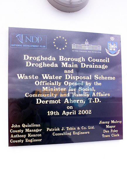 The plaque that was erected at the opening of the new water treatment plant on the Marsh Road...Picture Fran Caffrey Newsfile...This Picture is sent to you by:..Newsfile Ltd.The View, Millmount Abbey, Drogheda, Co Louth, Ireland..Tel: +353419871240.Fax: +353419871260.GSM: +353862500958.ISDN: +353419871010.email: pictures@newsfile.ie.www.newsfile.ie