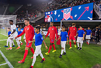 WASHINGTON, DC - OCTOBER 11: Daniel Lovitz #5 and Reggie Cannon #20 of the United States walk onto the field during a game between Cuba and USMNT at Audi Field on October 11, 2019 in Washington, DC.