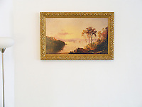 "Cropsey: ""Figures in the Hudson River"",  Image Dims.18.75"" x 32""<br />