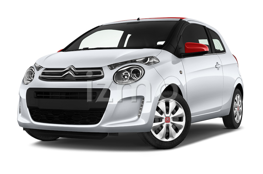 Stock pictures of low aggressive front three quarter view of 2015 Citroen C1 Airscape-Feel-Edition 3 Door Micro Car Low Aggressive