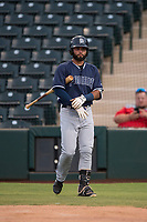 AZL Padres 2 left fielder Blinger Perez (14) walks up to the plate an Arizona League game against the AZL Angels at Tempe Diablo Stadium on July 18, 2018 in Tempe, Arizona. The AZL Padres 2 defeated the AZL Angels 8-1. (Zachary Lucy/Four Seam Images)