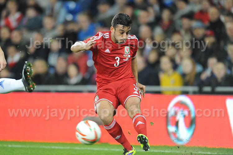 Neil Taylor of Wales puts in a cross to the centre during the Wales v Finland Vauxhall International friendly football match at the Cardiff City stadium, Cardiff, Wales. Photographer - Jeff Thomas Photography. Mob 07837 386244. All use of pictures are chargeable.