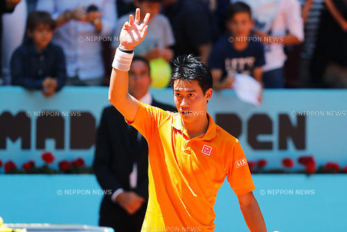 Kei Nishikori (JPN), MAY 10, 2017 - Tennis : Kei Nishikori of Japan celebrate after winning singls 2nd round match against Diego Schwartzman of Argntina on the ATP World Tour Masters 1000 Mutua Madrid Open tennis tournament at the Caja Magica in Madrid, Spain. (Photo by Mutsu Kawamori/AFLO) [3604]