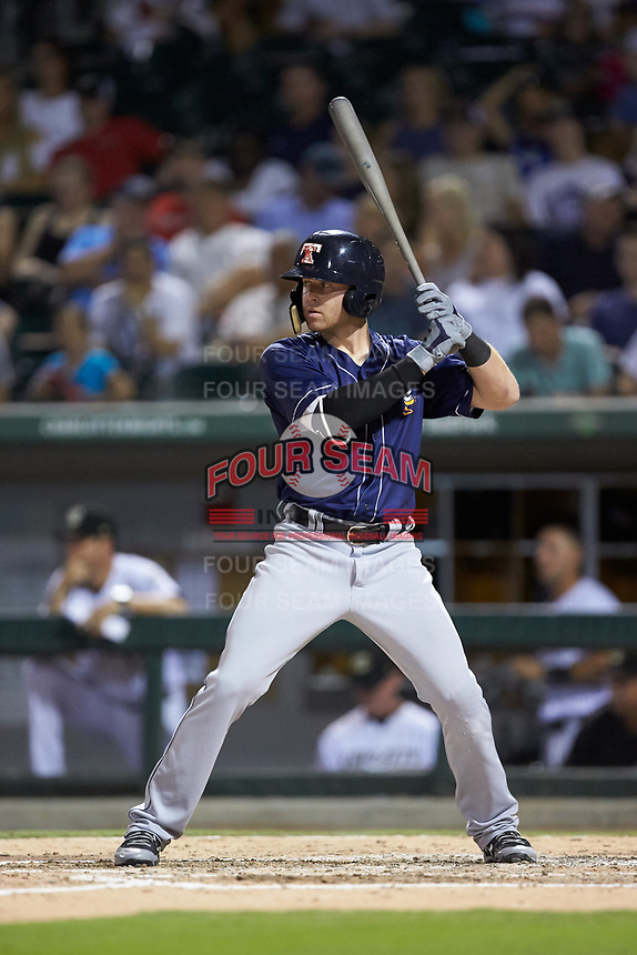 Mike Gerber (10) of the Toledo Mud Hens at bat against the Charlotte Knights at BB&T BallPark on June 22, 2018 in Charlotte, North Carolina. The Mud Hens defeated the Knights 4-0.  (Brian Westerholt/Four Seam Images)