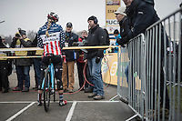 Katie Compton (USA/KFCracing) on the start grid<br /> <br /> 2016 CX UCI World Cup Zeven (DEU)