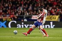 8th February 2020; Wanda Metropolitano Stadium, Madrid, Spain; La Liga Football, Atletico de Madrid versus Granada; Ismail Koybasi (Granada CF) challenges for the ball with Sime Vrsaljko (Atletico de Madrid)