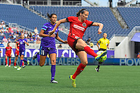 Orlando, FL - Sunday June 26, 2016: Christina Burkenroad, Katherine Reynolds  during a regular season National Women's Soccer League (NWSL) match between the Orlando Pride and the Portland Thorns FC at Camping World Stadium.