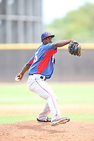 Clyde Kendrick (55) of the AZL Rangers pitches during a game against the AZL Padres at the San Diego Padres Spring Training Complex on July 4, 2015 in Peoria, Arizona. Padres defeated the Rangers, 9-2. (Larry Goren/Four Seam Images)
