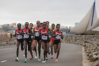 The Kenyan team lead the elite women's field at Cardiff Bay Barrage during the IAAF World Half Marathon Championships 2016 in Cardiff, Wales on 26 March 2016. Photo by Mark  Hawkins / PRiME Media Images.