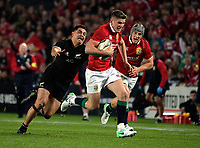 Aaron Lienert-Brown tries to stop Owen Farrell during the 2017 DHL Lions Series rugby union 3rd test match between the NZ All Blacks and British & Irish Lions at Eden Park in Auckland, New Zealand on Saturday, 8 July 2017. Photo: Dave Lintott / lintottphoto.co.nz