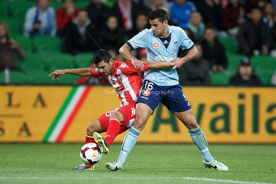 Aziz BEHICH of the Heart and Joel CHIANESE of Sydney fight for the ball in the round six match between Melbourne Heart and Sydney FC in the Australian Hyundai A-League 2013-24 season at AAMI Park, Melbourne, Australia.<br /> This image is not for sale. Please visit zumapress.com for image licensing.