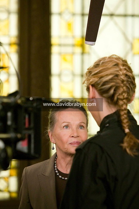 "8 May 2006 - North Bergen, NJ - French actress Leslie Caron (L) looks at Connie Nielsen while shooting on the studio set of television show ""Law & Order: SVU"" in North Bergen, USA, 8 May 2006. In this rare appearance in front of American television cameras, Caron, 74, plays a French victim of past sexual molestation in an episode entitled ""Recall"" due to air in the fall. Caron starred in Hollywood classics such as ""An American in Paris"" (1951), ""Lili"" (1953), ""Gigi"" (1958). More recently she appeared in ""Chocolat"" (2000) and ""Le Divorce"" (2003). Photo Credit: David Brabyn"