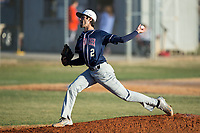 Mallard Creek Mavericks starting pitcher Tyler Delos (2) in action against the Glenn Bobcats at Dale Ijames Stadium on March 22, 2017 in Kernersville, North Carolina.  The Bobcats defeated the Mavericks 12-2 in 5 innings.  (Brian Westerholt/Four Seam Images)