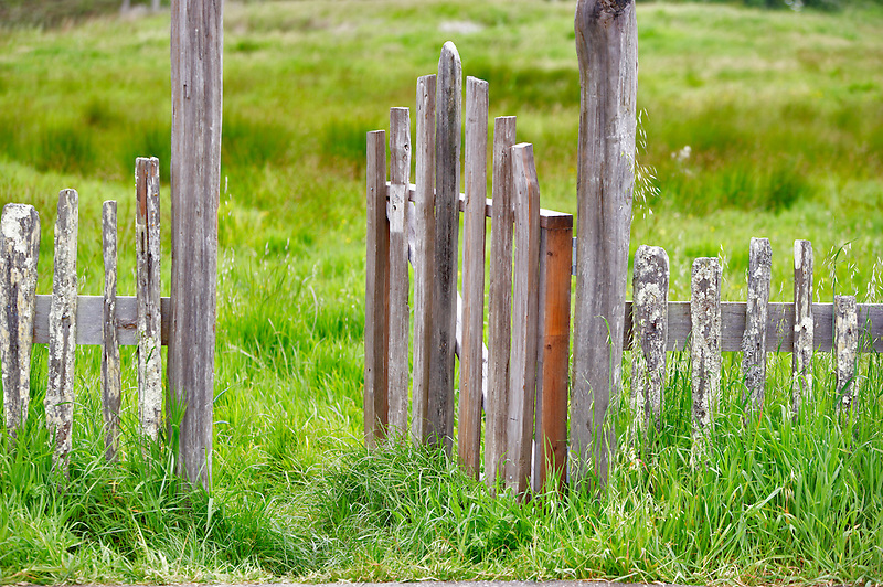 Open gate and pasture at Fort Ross State historic Park. California
