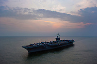 110122-N-7981E-215 STRAIT OF MALACCA (Jan. 22, 2011)- The Nimitz-class aircraft carrier USS Carl Vinson (CVN 70) underway in the Strait of Malacca. Carl Vinson and Carrier Air Wing 17 are underway on a deployment to the U.S. 7th Fleet area of responsibility. (U.S. Navy photo by Mass Communication Specialist 2nd Class James R. Evans / RELEASED)