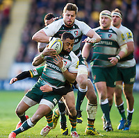 Telusa Veainu of Leicester Tigers is tackled in possession. Aviva Premiership match, between Northampton Saints and Leicester Tigers on April 16, 2016 at Franklin's Gardens in Northampton, England. Photo by: Patrick Khachfe / JMP
