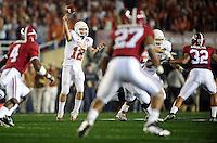 Jan 7, 2010; Pasadena, CA, USA; Texas Longhorns quarterback Colt McCoy (12) throws a pass during the first quarter of the 2010 BCS national championship game against the Alabama Crimson Tide  at the Rose Bowl.  Mandatory Credit: Mark J. Rebilas-