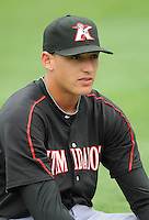 Outfielder Trayce Thompson (24) of the Kannapolis Intimidators, Class A affiliate of the Chicago White Sox, prior to a game against the Greenville Drive on May 26, 2011, at Fluor Field at the West End in Greenville, S.C. The game was postponed due to rain. (Tom Priddy / Four Seam Images)