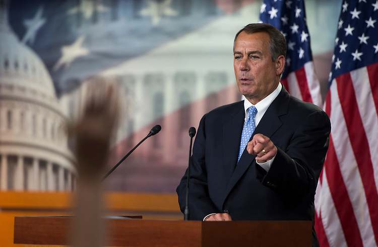 UNITED STATES - NOVEMBER 9: Speaker of the House John Boehner, R-Ohio, calls on reporters during his on camera press briefing in the U.S. Capitol to address the fiscal cliff on Friday, Nov. 9, 2012. (Photo By Bill Clark/CQ Roll Call)