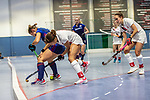 Mannheim, Germany, January 03: During the 1. Bundesliga women indoor hockey match between TSV Mannheim and Mannheimer HC on January 3, 2020 at Primus-Valor Arena in Mannheim, Germany. Final score 4-4. (Photo by Dirk Markgraf / www.265-images.com) *** Isabella Schmidt #31 of Mannheimer HC, Tara Duus #17 of TSV Mannheim