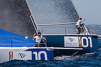 IBIZA, SPAIN - 1 JUL:  Paprec and Azzurra make a practice start during preview day of Royal Cup at Marina Ibiza on July 01st 2013 in Ibiza, Spain. Photo by Xaume Olleros / 52 Super Series