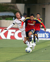 David Beckham defends Javier Morales in the Los Angeles Galaxy vs Real Salt Lake 2-2 draw at Rice Eccles Stadium in Salt Lake City, Utah on May 3, 2008