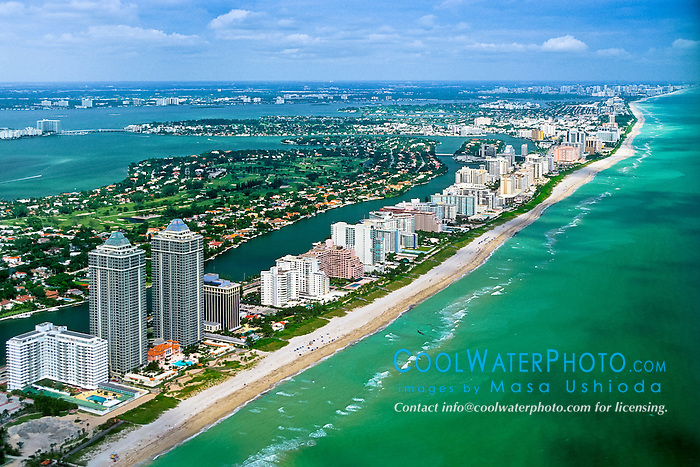 aerial view of Miami Beach, Bal Harbour and Intracoastal Waterway, Florida , USA, Caribbean Sea, Atlantic Ocean
