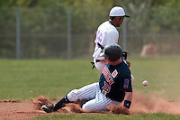 25 April 2010: David Gauthier of Rouen slides safely into second base as Chabelo Reyes Calderon of the PUC fails to catch the ball during game 1/week 3 of the French Elite season won 12-4 by Rouen over the PUC, at the Pershing Stadium in Vincennes, near Paris, France.