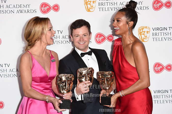 Amanda Holden, Declan Donnelley and Alesha Dixon in the winners room for the BAFTA TV Awards 2018 at the Royal Festival Hall, London, UK. <br /> 13 May  2018<br /> Picture: Steve Vas/Featureflash/SilverHub 0208 004 5359 sales@silverhubmedia.com