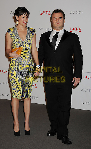 Tanya Haden & Jack Black.The Inaugural Art and Film Gala held at LACMA in Los Angeles, California, USA..November 5th, 2011.full length yellow black grey gray dress suit married husband wife .CAP/ROT/TM.©Tony Michaels/Roth Stock/Capital Pictures