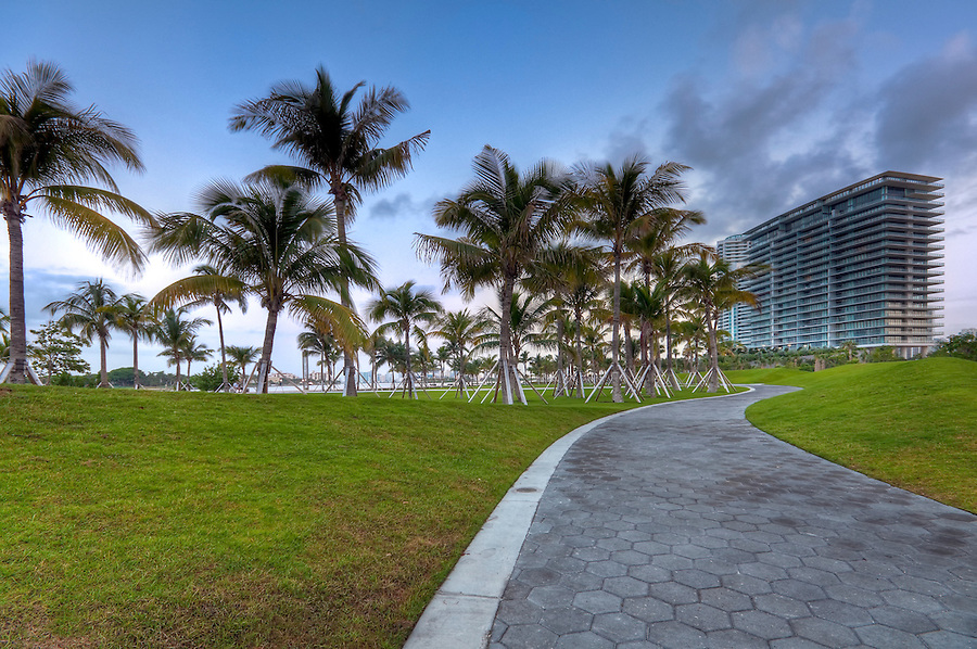 View of apartment condos in South Pointe Park, Miami Beach.