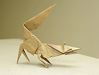Complex origami model Fox designed and folded by Nathan Zimet, Vermont, USA