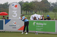 Tommy Fleetwood (Europe) on the 3rd tee during the Saturday Foursomes of the Eurasia Cup at Glenmarie Golf and Country Club on the 13th January 2018.<br /> Picture:  Thos Caffrey / www.golffile.ie