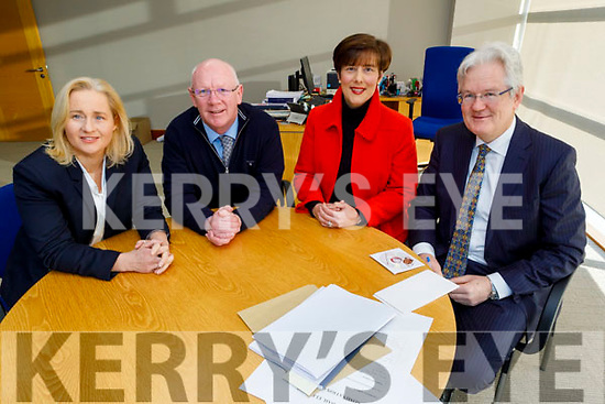 Fianna Fail nominations for the upcoming General Elections, Norma Moriarty, John Brassil and Norma Foley sitting with the Kerry County Registrar, Padraig Burke on Monday morning.