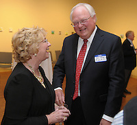 NWA Democrat-Gazette/ANDY SHUPE<br /> Marsha Jones, former associate superintendent of Springdale Public Schools (left), speaks Thursday, Oct. 29, 2015, with Jim Rollins, superintendent, before the start of the Springdale Public Schools Education Foundation Cornerstone Society induction ceremony at the Arts Center of the Ozarks in Springdale. Jones was honored during the ceremony. Visit nwadg.com/photos to see more photographs from the evening.