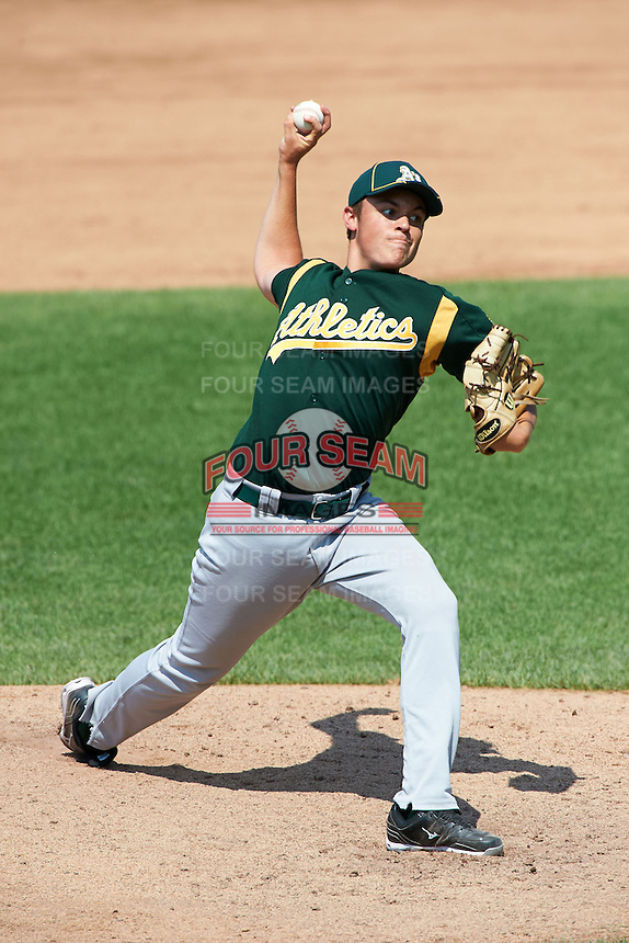 Kyle Serrano #30 of Farragut High School in Knoxville, Tennessee playing for the Oakland Athletics scout team during the East Coast Pro Showcase at Alliance Bank Stadium on August 3, 2012 in Syracuse, New York.  (Mike Janes/Four Seam Images)