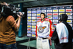 Stockholm 2014-01-08 Ishockey SHL AIK - Lule&aring; HF :  <br />  Lule&aring;s m&aring;lvakt Mark Owuya intervjuas i TV efter matchen<br /> (Foto: Kenta J&ouml;nsson) Nyckelord:  portr&auml;tt portrait