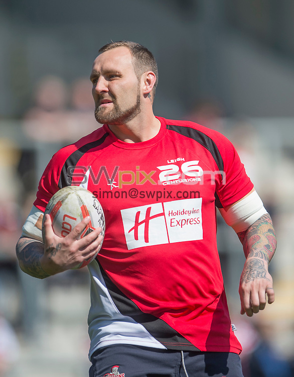 Picture by Allan McKenzie/SWpix.com - 18/04/2015 - Rugby League - Ladbrokes Challenge Cup - Leigh Centurions v Salford Red Devils - Leigh Sports Village, Leigh , England - Gareth Hock warms up with Leigh.