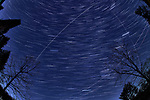 Winter Nighttime Sky Over New Jersey. Composite star trail image (22:00 - 22:29) taken with a Nikon D850 camera and 8-15 mm fisheye lens (ISO 800, 15 mm, f/8, 30 sec). Raw images processed with Capture One Pro and the composite created with Photoshop CC (statistics, maximum).