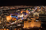 Aerial night view of Las Vegas Strip, Nevada, NV, Las Vegas Strip, city at night, nightscape, aerial, Photo nv250-17032..Copyright: Lee Foster, www.fostertravel.com, 510-549-2202,lee@fostertravel.com