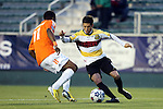 19 April 2014: Fort Lauderdale's Martin Nunez (URU) (9) and Carolina's Ty Shipalane (RSA) (11). The Carolina RailHawks played the Fort Lauderdale Strikers at WakeMed Stadium in Cary, North Carolina in a 2014 North American Soccer League Spring Season match. Carolina won the game 4-1.