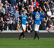 9th September 2017, Ibrox Park, Glasgow, Scotland; Scottish Premier League football, Rangers versus Dundee; Rangers' Josh Windass (left) is congratulated after scoring for 2-0 by Bruno Alves
