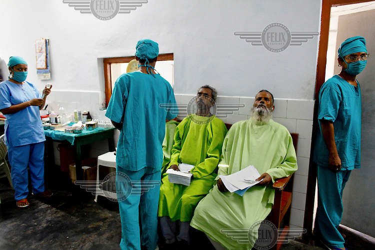 Patients from India wait to have operations at the GETA eye hospital.