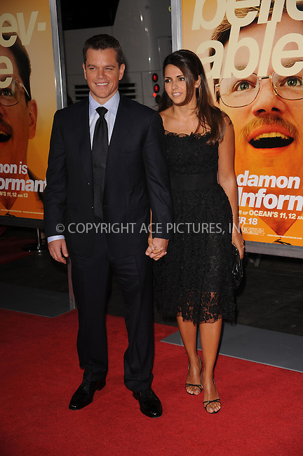 WWW.ACEPIXS.COM . . . . . ....September 15 2009, New York City....Actor Matt Damon and his wife Luciana Barroso arriving at the 'The Informant' benefit screening at the Ziegfeld Theatre on September 15, 2009 in New York City.....Please byline: KRISTIN CALLAHAN - ACEPIXS.COM.. . . . . . ..Ace Pictures, Inc:  ..tel: (212) 243 8787 or (646) 769 0430..e-mail: info@acepixs.com..web: http://www.acepixs.com