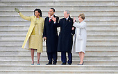 Washington, DC - January 20, 2009 -- (L-R) Michelle Obama, President Barack Obama, Former President George W. Bush and Laura Bush wave as former Vice President Dick Cheney departs on the East Front of the US Capitol Building after Barack Obama was sworn in as the 44th President of the United States in Washington, DC, USA 20 January 2009.  Obama defeated Republican candidate John McCain on Election Day 04 November 2008 to become the next U.S. President..Credit: Tannen Maury - Pool via CNP
