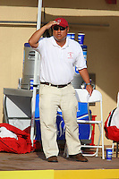 10 May 2008: Stanford Cardinal volunteer assistant coach Kyle Utsumi during Stanford's 10-6 loss against the USC Trojans in the National Collegiate Women's Water Polo Tournament semifinal game at Avery Aquatic Center in Stanford, CA.