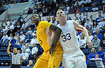 February 4, 2017:  Wyoming forward, Alan Herndon #5, and Falcon center, Frank Toohey #33, struggle for rebound position during the NCAA basketball game between the Wyoming Cowboys and the Air Force Academy Falcons, Clune Arena, U.S. Air Force Academy, Colorado Springs, Colorado.  Wyoming defeats Air Force 83-74.