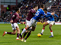 26th January 2020, Tynecastle Park, Edinburgh, Scotland; Scottish Premier League football, Hearts of Midlothian versus Rangers; Matt Polster of Rangers goes down in the box after a challenge from Jon Souttar of Hearts