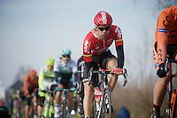 Jens Debusschere (BEL/Lotto-Soudal) up the Haaghoek<br /> <br /> 71st Omloop Het Nieuwsblad 2016